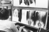 Northwestern College of Chiropractic student viewing x-rays