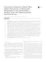 Functional Limitations in Adults Who Utilize Chiropractic or Osteopathic Manipulation in the United States: Analysis of the 2012