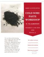 Cold Sore Paste Workshop Flyer