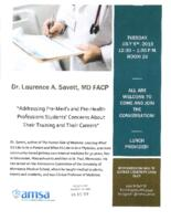 Addressing Pre-Med and Pre-Health Professions Students' Concerns About Their Training and Their Careers Flyer