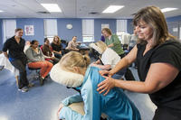 Massage therapy students leaning new techniques