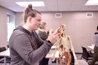 Northwestern Health Sciences University students during an anatomy class