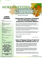 Northwestern weekly, Vol. 14, no. 11, Dec. 12, 2007
