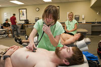 Northwestern College of Chiropractic students practicing heart studies