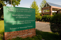 Sign at the front of Northwestern Health Sciences University