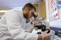 Northwestern Health Sciences University student using a microscope