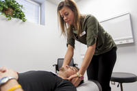 Chiropractic patient receiving an adjustment