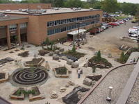 Aerial shot of the Healing garden under construction