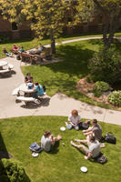 Aerial shot of students relaxing in the courtyard