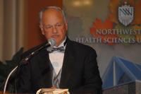 Northwestern Health Sciences University President Alfred Traina speaking at Landmark Center in St. Paul, Minnesota