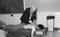 Northwestern College of Chiropractic students viewing an adjustment technique during class
