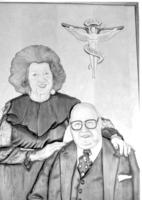 Wood carving image of Northwestern College of Chiropractic faculty member Dr. J. Lamoine De Rusha and his wife Klara.