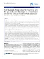 Individualized chiropractic and integrative care for low back pain: the design of a randomized clinical trial using a mixed-meth